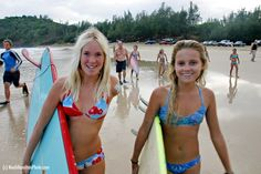 Bethany Hamilton and Alana Blanchard walk out to see if Bethany is able to surf with one arm. This is Bethany's first experience surfing after the shark attack. photo (c)NoahHamiltonPhoto.com