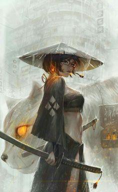 Glasses by GUWEIZ female steampunk ninja samurai assassin thief rogue ranger armor clothes clothing fashion player character npc Fantasy Anime, 3d Fantasy, Fantasy Warrior, Fantasy Girl, Female Samurai, Samurai Art, Samurai Anime, Character Inspiration, Character Art