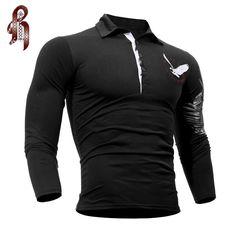 HEYKESON Mens Polo Shirt Brands 2017 Male Long Sleeve Fashion Casual Slim Solid Eagle Printing Polos Men  Jerseys   XXL K