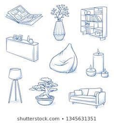 Cartera de fotos e imágenes de stock de Daniela Barreto Drawing Furniture, Room Furniture Design, Types Of Furniture, Interior Design Living Room, Modern Interior, Furniture Plans, Sofa Drawing, Interior Concept, How To Draw Painting