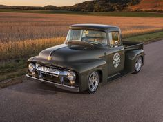 Old truck, turned beautiful custom build. That's right folks, our Ford known as Clem is basically the Cinderella of SEMA. Farm Trucks, Old Trucks, Pickup Trucks, Vintage Trucks, 1956 Ford Truck, 1956 Ford F100, Custom Trucks, Custom Cars, Pick Up