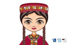 The girl in Turkmen dress. By Zoya Miller Illustrations, Graphic Illustration, Back Art, Scene Creator, Love Mom, Line Design, Historical Clothing, Design Bundles, Vector Design