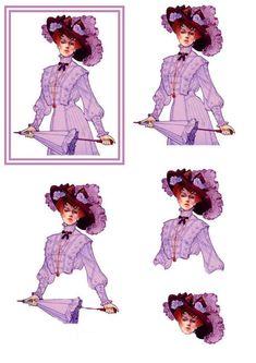 Femme en robe violette