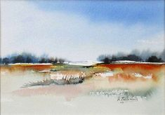 The Best Rita Tielemans - The Open Landschap Inventive and Nice Rita Tielemans - Th. Watercolor Scenery, Watercolor Landscape Paintings, Watercolor Artists, Watercolor Techniques, Oil Painting Abstract, Abstract Watercolor, Landscape Art, Watercolor Flowers, Watercolor Portraits
