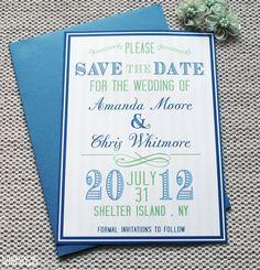 Vintage Save The Dates - Save the Dates, Blue Save The Dates, Blue and Green, Vintage Wedding, Printable. $20.00, via Etsy.