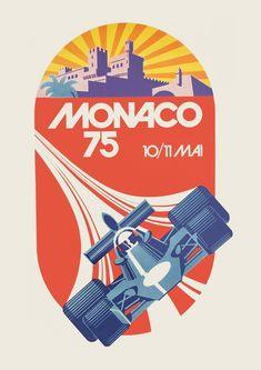 Poster 1975 Monaco Grand-Prix original Inscribed on lower left margin a.p monaco. Art Deco Posters, Car Posters, Vintage Posters, Event Posters, Poster Prints, Porsche, Monte Carlo, Course Automobile, Monaco Grand Prix