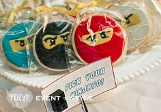 """Lego Ninjago cookies -- good idea to make them in different colors so kids at a small party can """"pick their ninja. Ninja Birthday Parties, Boy Birthday, Birthday Ideas, Ninjago Party, Lego Ninjago, Party Time, Party Ideas, Lego Cookies, Legos"""