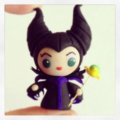 Maleficent Chibi character made from polymer clay. Tutorial available on YouTube! #maleficent #flyingmio #chibi #kawaii #anime #cutr #disney