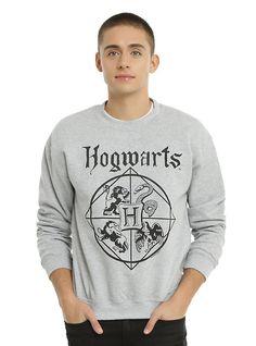 Harry Potter Hogwarts Crewneck Sweatshirt, GREY