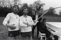 """""""Whilst Clemence looks a little sheepish on piano Hoddle is fully embracing the rock star opportunity. Ray Clemence, Tottenham Hotspur Football, Vintage Football, Playing Guitar, Embedded Image Permalink, Old Photos, Chef Jackets, Stock Photos, Couple Photos"""