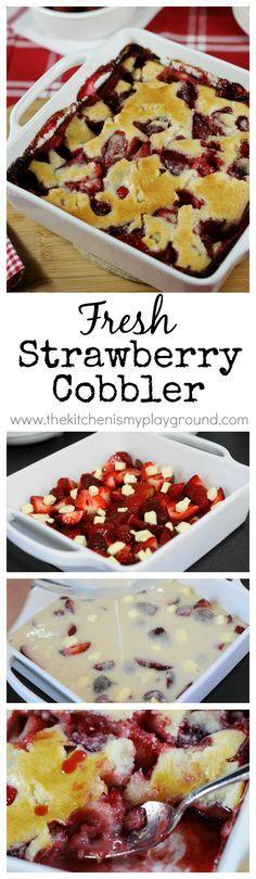 Scrumptious Fresh Strawberry Cobbler ~ there's just nothing better than juicy fresh strawberries, except for maybe juicy fresh strawberry cobbler! www.thekitchenismyplayground.com