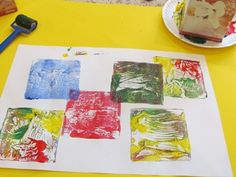 Painting with Tissue Boxes - to create simple squares