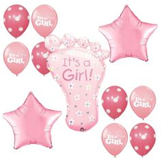 Baby Shower Supplies It's a Girl Mylar Foil Balloons foot shape Pink Decorations #Anagram #BabyShower