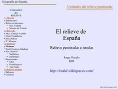 El relieve de España Relieve peninsular e insular Jorge Gozalo para http://redul.wikispaces.com/ Geografía de España. UNIDADES del RELIEVE 1. Meseta Submese…