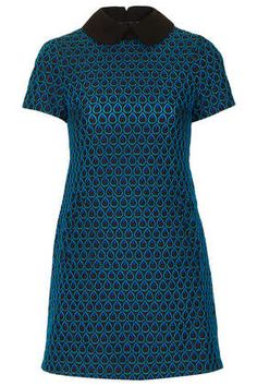 blue teardrop embroidered dress by Sister Jane with black peter pan collar - Topshop