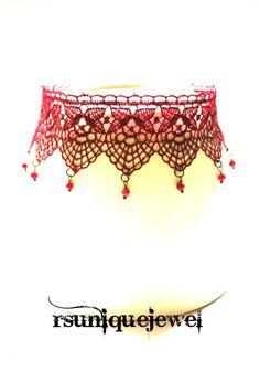 Burgundy Choker Burlesque Choker Royal Lace by rsuniquejewel
