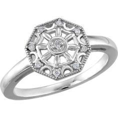 Sterling Silver .05 CTW Diamond Ring Size 7