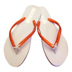 39e6ce8eb68f3 Orange Bridesmaid Flip Flops - Bridal Flip Flops - Starfish Flip Flops -  Orange Wedding - Beach Wedding - Nautical - 30 Colors Available