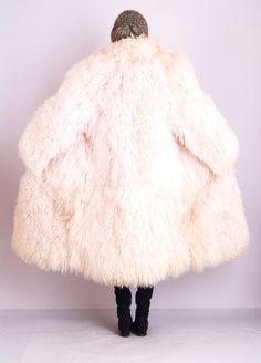 ... MONGOLIAN FUR Tibetan Lamb SHAGGY Chubby Dress Jacket MAXI COAT | eBay