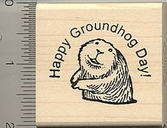 Happy Groundhog Day Rubber Stamp F7912 Wood by Rubberhedgehog, $8.50