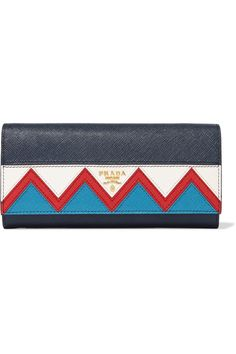 Prada | Zig Zag textured-leather continental wallet | NET-A-PORTER.COM