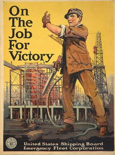 Vintage Wwi War Work Job For Victory Shipping Poster Re-Print Ww1 Posters, Ww2 Propaganda Posters, World War One, First World, Library Of Congress, Poster On, Vintage Posters, American History, Wwii