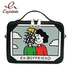 02ead57ffb90 Fashion cartoon pattern stitching color retro box shape ladies shoulder bag  handbag casual totes women s crossbody