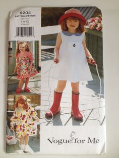 Vogue 9204 For Me Sewing Pattern Girls Dress 5 by RockwallAntiques
