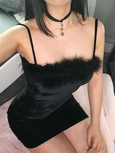 Black Velvet Spaghetti Strap Fluffy Trim Mini Dress