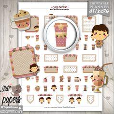 Coffee Stickers, Planner Stickers, Coffee Planner Stickers, Coffee Time Stickers, Planner Accessories, Erin Condren, Kawaii Stickers