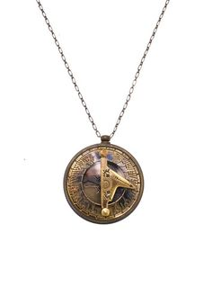 Gold Sundial & Compass Necklace