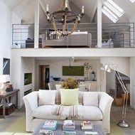 White Living Room with Mezzanine