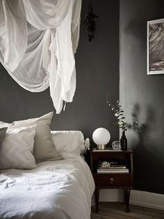 linen duvet and pillow cases, thrift store night stand.