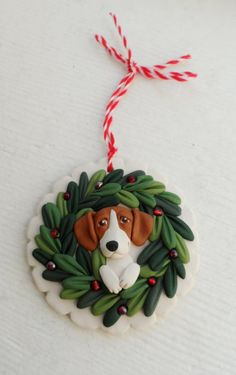 Beaglel Christmas ornie by Raquel at the WRC hand sculpted polymer clay ORNAMENT Pet dog Lover