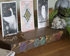 Crystal shelves and Tarot boxes for your sacred space by topazandpine Tarot Card Spreads, Crystal Shelves, Tarot Decks, Witchcraft, Wood Projects, Boxes, Crystals, Chakras, Handmade Gifts