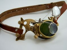 Steampunk Brass Monocle Goggles Victorian Mad Scientist LARP Cosplay. $84.00, via Etsy.