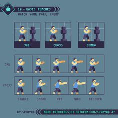 Tutorial – 16 – Basic Punches – Art – Art is my life. Sprites, Game Design, Game Character Design, Character Concept, Animation Pixel, How To Pixel Art, Arte 8 Bits, 2d Game Art, 8bit Art