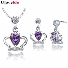 Find More Jewelry Sets Information about Purple Elegant Crown 2015 Fashion Jewelry Set for Women Cute Valentine's Day Silver plated Wholesale lots Necklaces+Earrings,High Quality jewelry bezel settings,China set television Suppliers, Cheap jewelry tooth from D&C Fashion Jewelry Buy to Get a Free Gift on Aliexpress.com