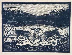 John Andreas Savio Winter Illustration, Lappland, Clay Animals, Wood Engraving, Woodblock Print, Alter, Printmaking, Folk Art, Scandinavian