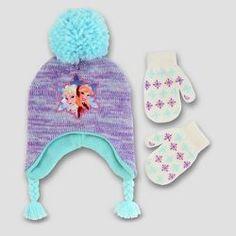 SO Girls 2PC Winter Set Rain Foil Hat Gloves Gray Combo Small 4-7
