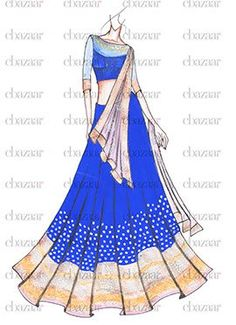 Buy DIY Royal Blue Georgette Lehenga Choli online from the wide collection of a-line-lehenga. This Blue colored a-line-lehenga in Faux Georgette fabric goes well with any occasion. Shop online Designer a-line-lehenga from cbazaar at the lowest price. Fashion Design Sketchbook, Fashion Design Drawings, Fashion Sketches, Fashion Figures, Fashion Models, Ethnic Fashion, Indian Fashion, Sari Design, Fashion Illustration Dresses