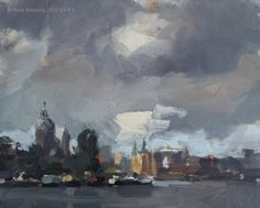 Cityscape Amsterdam # 9 Rainy day at the docks view upon St. Nicolaas and Central Station, painting by artist Roos Schuring