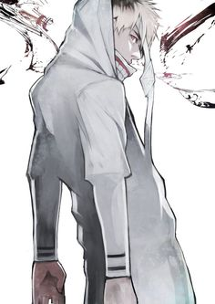 Hide with Kaneki's battle suit and mask just in white
