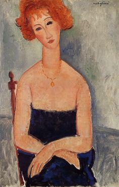 Redheaded woman wearing a pendant Amedeo Modigliani, 1918