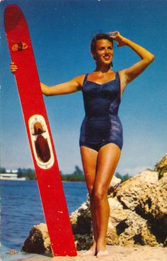These postcards show beautiful girls in their bathing suits. Women in this era still continued to wear all in one swimwear, rarely wear. Swimsuits, Swimwear, Bathing Suits, Skiing, Have Fun, One Piece, Water Ski, Vintage, Beauty