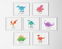 75% OFF SALE Dinosaur Art Set of 9  12x12s by DreamBigPrintables