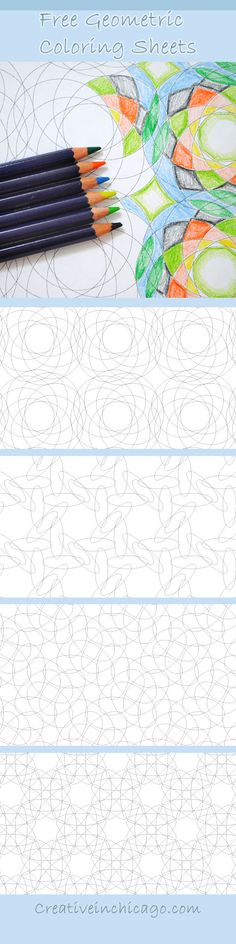 Free geometric coloring sheets. Fun for kids and adults