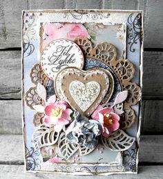 Stempelglede :: Grunge Florish Hearts - Pia Baunsgaard Card Creator, Paper Cards, Scrapbook Pages, Scrapbooking, Vintage Cards, Flourish, Cardmaking, Valentines, Stamp