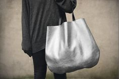 Silver Oversized Leather Hobo Bag, Tote bag in silver every day bag.