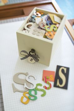 Scrapbooking organization idea: sort chipboard letters and keep in drawers.  #scrapbooking #scrapbook #organize #organization #creatingkeepsakes